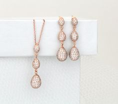Rose Gold earrings, Rose Gold necklace, Wedding jewelry, Teardrop earrings, Rose…