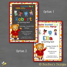 Hey, I found this really awesome Etsy listing at https://www.etsy.com/listing/202013769/daniel-tiger-birthday-party-invitation
