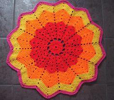 """Sunset"" Crocheted Circular baby blanket by Artzyfartzy, via Flickr"