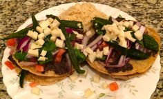 Double Decker Poblano Tostadas with Spanish Rice