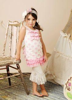 Mustard Pie Pink Elizabeth Top, Pink Ava Shorts & Cream Lace Legging Preorder