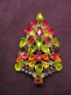 Czech Christmas Tree Pin Brooch