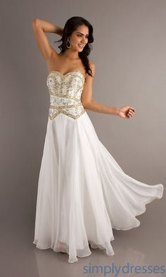 Beautiful long dress with lace-up back (expensive)... Not suitable for senior prom though.  9