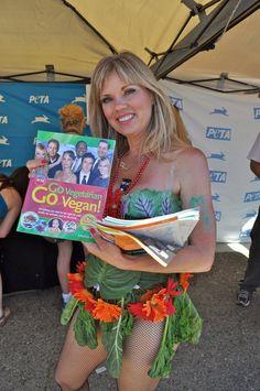SF Pride Parade - Lettuce lady handing out PETA's Vegan Starter Kits!