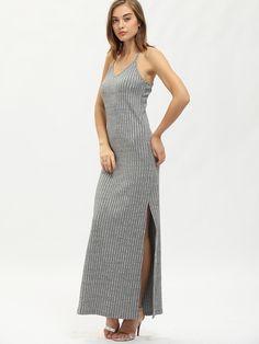 Robe longue à bretelle avec fentes latérales -gris-French SheIn(Sheinside)