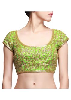 Green blouse embroidered in kardana only on kalki