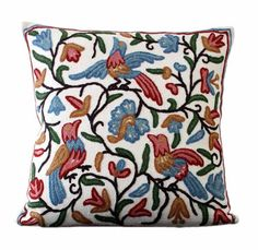 Amazon.com - Be Still Homewares Kashmir Crewel Throw Pillow Cover -