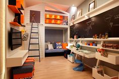 Kids Rooms – Ideas for Decoration with Photos Chambre Nolan, Kids Bedroom, Bedroom Decor, Kids Rooms, Boy Girl Room, Kids Room Design, Kid Beds, Playground Design, House Design