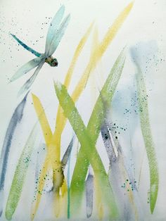 'Dragonfly on Long Grass' is an original watercolour painting on archival paper. Abstract Watercolor, Watercolour Painting, Bird Artists, Irish Landscape, Irish Art, Lilac Flowers, Flower Vases, Pet Birds, Grass