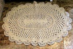 Овальный коврик крючком. Схема вязания крючком