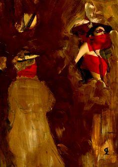"""31-Toulouse Lautrec x Cris Acqua.  Pintura Mixta Collage. 30x21 cm.  HOMENAJE :""""Mi amor por este genial pintor...dueño de los trazos más libres y geniales de la Belle epoque, me han influido totalmente en mi camino por el arte..."""" (Cris Acqua)  http://www.crisacqua.com"""