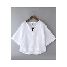 SheIn(sheinside) White V Neck Dip Hem Crop Blouse ($16) ❤ liked on Polyvore