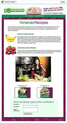 "Yonanas ""Recipes"" Facebook App Page  by Custom Page Designs"
