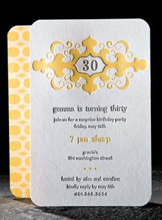 The Graham letterpress invitation from Smock can easily be made into a monogram when you replace the 30. A birthday invitation can go to a wedding invitation with no effort at all!