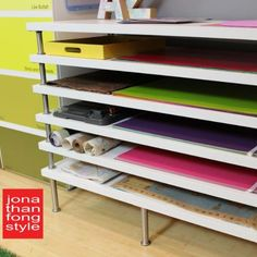 Flat file storage with LINNMON table tops - IKEA hackersAfter teaching Pre-K, I think of a rack for storing art projects in a classroom. IKEA hacker: flat file storage with LINNMON table ideas for