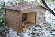 Dog House For Outside .Dog House For Outside Dog House With Porch, Large Dog House, Large Houses, Big Dogs, Large Dogs, Puppy Training Guide, Dog House Plans, Cool Dog Houses, Dog Training Techniques