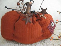 A wonderful fabric pumpkin. Perfect for your fall display!