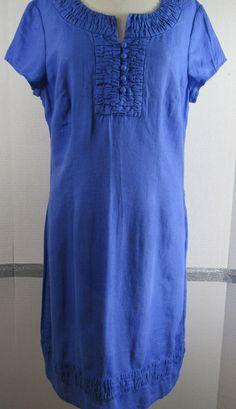 Boden Shift Dress Size 10L Linen Blue Short Sleeve Knee Length NWT #Boden #Shift #Casual