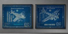 future boy's room -- or cool gift for my dad, Greg or Ryan...Ww2 Aircraft Blueprints,  mustang P-51, boeing B-17, corsair F4U, spitfire MK - or custom order. $75.00, via Etsy.