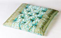Turquoise Sunderi Sari Throw Pillow