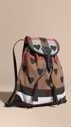 35a427bd049f Heart Print Canvas Check Burberry Backpack