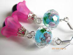 Lampwork blue glass beads earrings, blue pearl , pink bell earrings $10.00