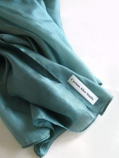 Teal Green Silk Scarf by CuriousAliceStudio on Etsy