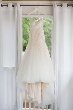 Wedding dress hanging on the balcony of our Polo Bunk