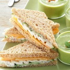 17 Tea Sandwich Recipes - Looking for the perfect sandwich recipe to serve at baby and bridal showers or afternoon parties? Our collection of tea sandwich recipes includes luncheon favorites like cucumber, crab and chicken salad sandwiches. by allisonn Mini Sandwiches, English Tea Sandwiches, Cucumber Sandwiches, Bridal Shower Sandwiches, Party Finger Sandwiches, Wedding Sandwiches, Dinner Sandwiches, Sandwich Croque Monsieur, Simply Yummy