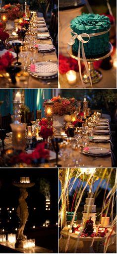 multicolored, decor, event decor, wedding decor, blue, red, tablescape