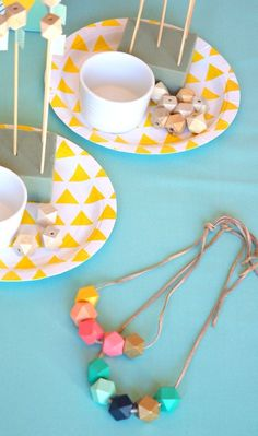 Tutorial: wood bead geometric necklaces  {Handcrafted Parties by Lisa Frank}