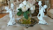shabby Vtg style cherub metal candles pair putti wings candelabra