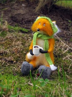 fox and coffee Needle felted fox Needle felted animal by Zontiks