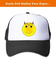 Duola Evil Smiley Face Expression Boy's Hat Sunbonnet Cap Lightweight Mesh Flexfit Black. This Child's Cap Sun Protection Hat Lightweight Mesh Recommend Teenagers Or Children Under The Age Of 13,Suit For Group Activities,Class Activities And So On.Suitable For Leisure Wear And Other Outdoor Living.