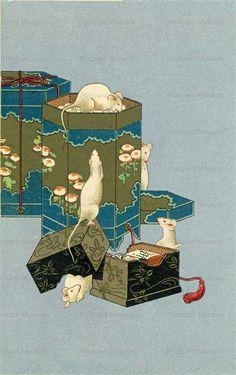 Japanese Bird, Vintage Japanese, Japanese Art Styles, Animal Movement, Mouse Illustration, Oriental Print, Chinese Astrology, Year Of The Rat, Pet Rats