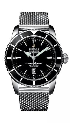 Stainless steel case with a stainless steel ocean classic bracelet. Uni-directional rotating stainless steel with blac bezel. Black dial with luminous hands and index hour markers. Minute markers around the outer rim. Dial Type: Analog. Luminescent hands and markers. Date display at the 3 o'clock position. Breitling Calibre 17 automatic movement with about 40 hours of power reserve. Scratch resistant sapphire crystal. Screw locked - two gaskets crown. Solid case back. Case size: 42 mm.