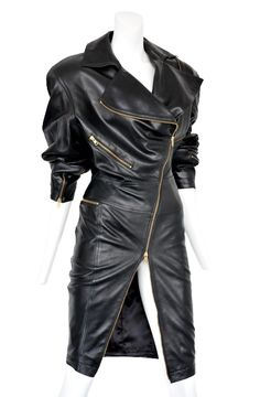 Alaia Black Leather Motorcycle Dress