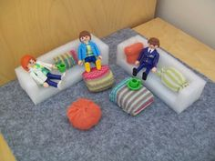 Couches for Playmobil people from styrofoam packing material