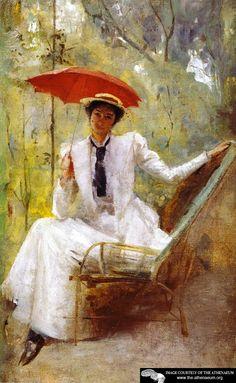 Lady with a Parasol, 1893 - Tom Roberts - Tom Roberts, Australian artist Australian Painters, Australian Artists, Paul Cezanne, Hans Thoma, Umbrella Art, Umbrellas Parasols, Art Database, Art Themes, Art Auction
