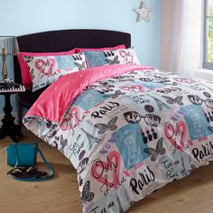 Duvet Cover with Pillowcase Paris Eiffel Tower Pink Blue Retro Quilt Bedding Set in Home, Furniture & DIY, Bedding, Bed Linens & Sets   eBay