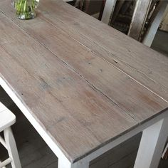 The ProvenceWhite Washed Farmhouse Table With Dark Grey Square - Whitewash table top