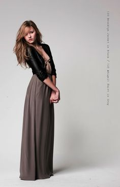 long dress + fitted jacket. I think this is a nice way to carry a long, maxi dress into fall & winter.