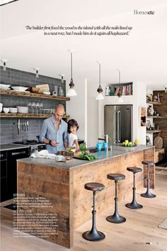 Lava stone Worktop or concrete is similar and cheaper. Lovely mix of new glow modern units, reclaimed wood and industrial style Worktop..amazing!