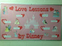 Love lessons from disney bulletin board #ra #rabulletinboard #residencelife #bulletinboard