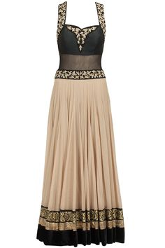Beige and black cross back anarkali set available only at Pernia's Pop-Up Shop.