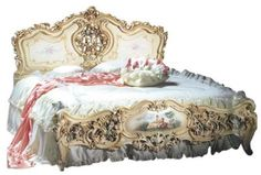 The florid, 18th c.French Baroque design revisits the bedroom. Tinted pastel roses and pastoral scenes are rendered to an intricately hand carved birch wood bed.