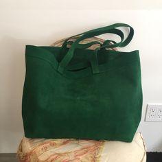 A Détacher Ada suede oversized tote, green