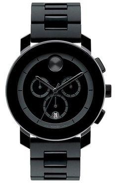Be mine.  Movado Bold - 43.5mm large Movado BOLD chronograph, black TR90 composite material/stainless steel case, black dial, black TR90/polyurethane link bracelet, K1 crystal, 1/1 Swiss quartz chronograph movement.