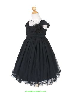 Black Fancy Tulle Flower Girl Dress - ON SALE!--would be good for the pageant