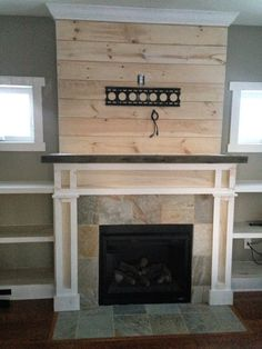 Shiplap Fireplace with Built-Ins ~ www.theuniquenest.com